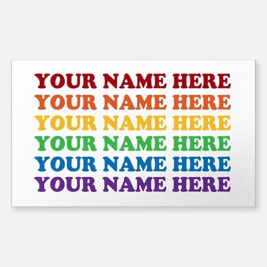 Rainbow Custom Text Sticker (Rectangle)