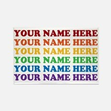Rainbow Custom Text Rectangle Magnet