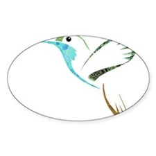Blue and Green Patchwork Hummingbird Decal
