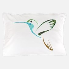 Blue and Green Patchwork Hummingbird Pillow Case