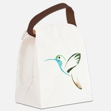 Blue and Green Patchwork Hummingb Canvas Lunch Bag