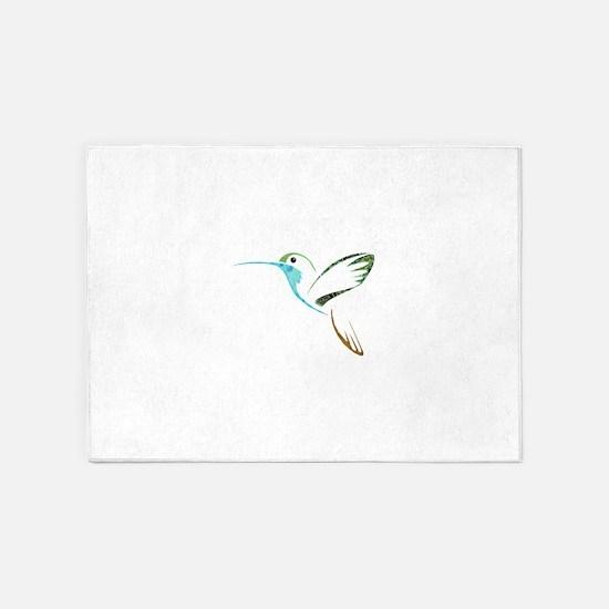 Blue and Green Patchwork Hummingbir 5'x7'Area Rug