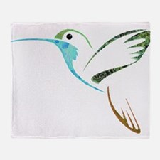 Blue and Green Patchwork Hummingbird Throw Blanket