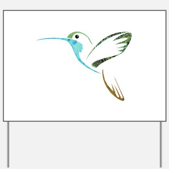 Blue and Green Patchwork Hummingbird Yard Sign