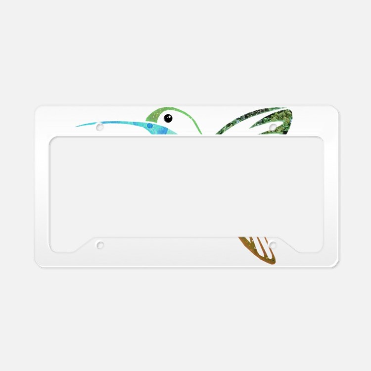 Blue and Green Patchwork Humm License Plate Holder