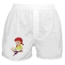 A young lady reading a book Boxer Shorts