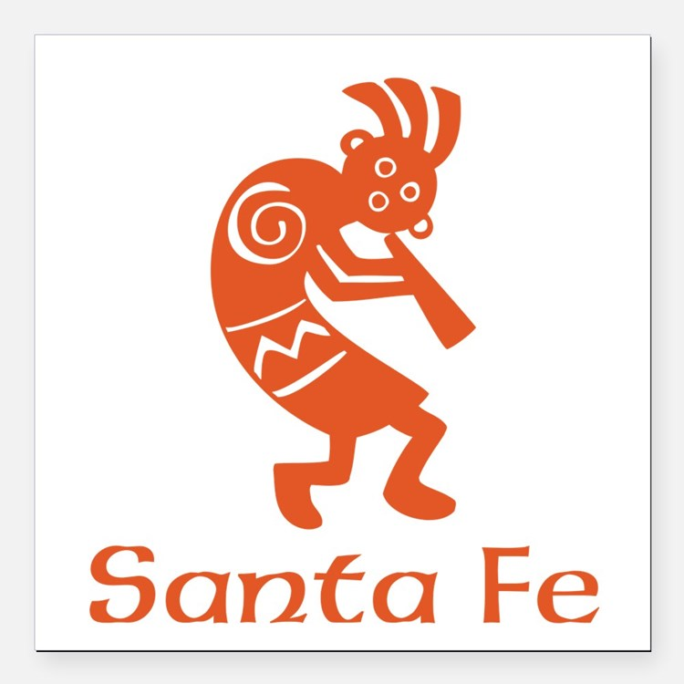 "Santa Fe Kokopelli Square Car Magnet 3"" x 3"""