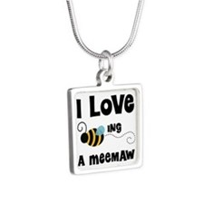 I Love Being A Meemaw Silver Square Necklace