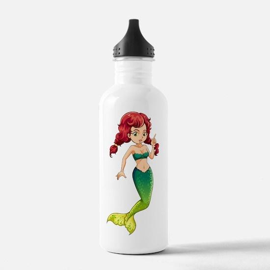 A green mermaid Water Bottle