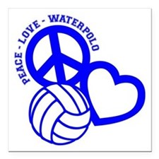 """PEACE-LOVE-WATERPOLO Square Car Magnet 3"""" x 3"""""""