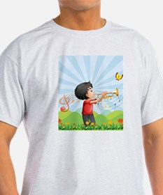 A young man near the hill playing wi T-Shirt