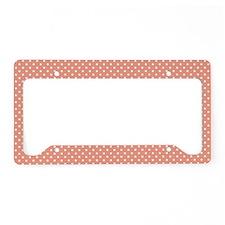 Polka Dots (Orange - White) License Plate Holder
