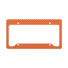 Polka Dots (Orange - White) License Plate Holder