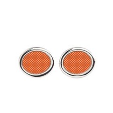 White Polka Dots Oval Cufflinks