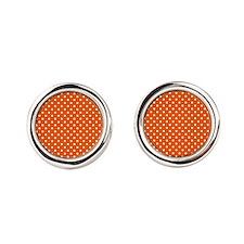 White Polka Dots Round Cufflinks