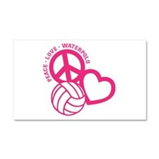 PEACE-LOVE-WATERPOLO Car Magnet 20 x 12