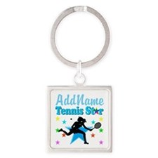 TENNIS PLAYER Square Keychain