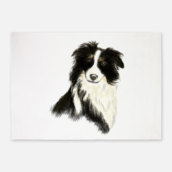 Watercolor Border Collie Dog Pet Animal 5'x7'Area
