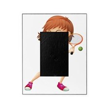 A young girl playing tennis Picture Frame