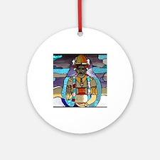 Dhanvantari Stained Glass Panel Ornament (Round)