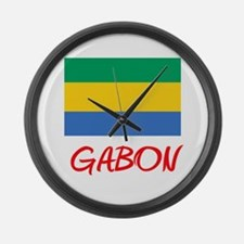 Gabon Flag Artistic Red Design Large Wall Clock