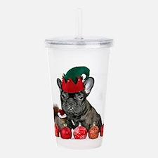 Christmas French Bulldog Acrylic Double-wall Tumbl