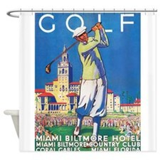 Golf, Miami, Vintage Art Poster Shower Curtain