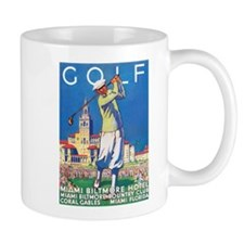 Golf, Miami, Vintage Art Poster Mugs