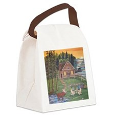 Moose Woods Lake Cabin Canvas Lunch Bag