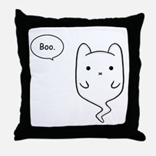 Boo the Ghost Cat Throw Pillow
