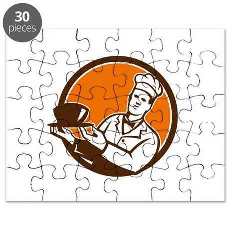 chef cook holding serving bowl circle retro puzzle by. Black Bedroom Furniture Sets. Home Design Ideas