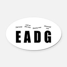 Bass Player (black) Oval Car Magnet