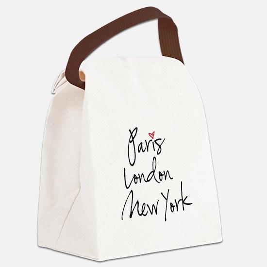 Paris, London, New York Canvas Lunch Bag