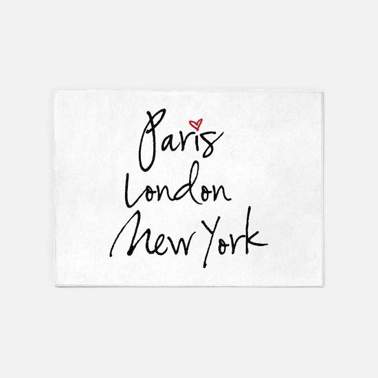 Paris, London, New York 5'x7'Area Rug