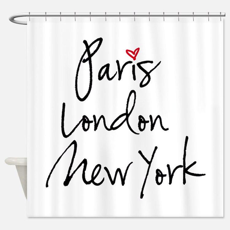 Paris, London, New York Shower Curtain