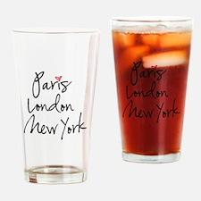Paris, London, New York Drinking Glass