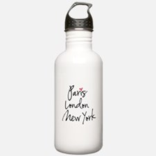 Paris, London, New York Water Bottle