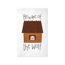 Beware Of Wolf 3'x5' Area Rug