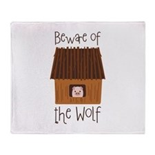 Beware Of Wolf Throw Blanket