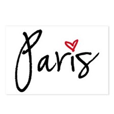 Paris with red heart Postcards (Package of 8)