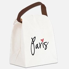 Paris with red heart Canvas Lunch Bag