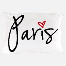 Paris with red heart Pillow Case
