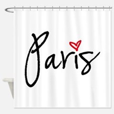 Paris with red heart Shower Curtain