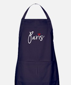 Paris white text Apron (dark)