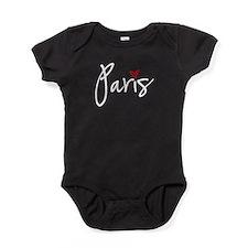 Paris white text Baby Bodysuit