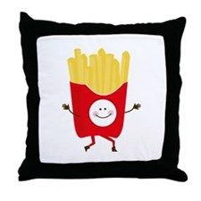 Happy Fries Throw Pillow