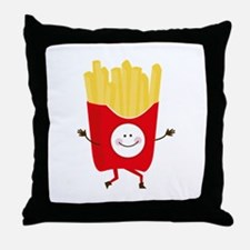 Happy Fries Throw Pillow