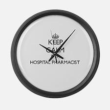 Keep calm I'm a Hospital Pharmaci Large Wall Clock