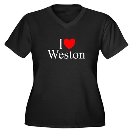 """I Love Weston"" Women's Plus Size V-Neck Dark T-Sh"