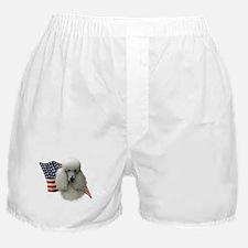 Poodle (Wht) Flag Boxer Shorts